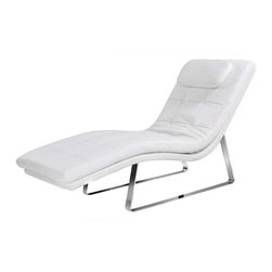 Modern white leatherette chaise lounge Malaga - Modern white chaise lounge Malaga is one of the most stylish and comfortable products in this category. It has a wavy body that is upholstered in top quality white leatherette and is based on a chromed stainless steel frame. The headrest of the chaise lounge is complemented with a little soft cushion for more relax and comfort.