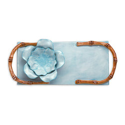 Ceramic Crudities Tray - Aqua - Zen becomes accessible with the splendor of the ceramic Crudities Tray in Aqua, a beautiful rectangular serving piece with incorporated bamboo handles glazed a natural shade as well as an included dip bowl that expresses the elegant limits of ceramic artwork. The vessel and the easy-to-carry platter are joined in graceful construction, but the mix of geometric and organic they embody is superb.
