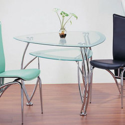 Sophisticated Clear Glass Top Leather Furniture Dining Set - Spes ultra modern dining room set. This pleasant Ultra Modern Dining Room Set 'Spes' offers a triangular shape dining table with clear glass top standing on elegant dual tube chrome metallic legs and 4 split leather side chairs.  This post-modern 'Spes' set will bring you precious charm and beauty for your home decor.