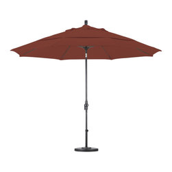 None - Ultra Premium Sunbrella 9-foot Patio Umbrella with Stand - Sunbrella brand fabrics are the top of the line, unmatched in quality and performance. This patio umbrella and stand set offers an extra large canopy, and an aluminum pole with a fiberglass rib system adding flexibility and longevity under heavy winds.