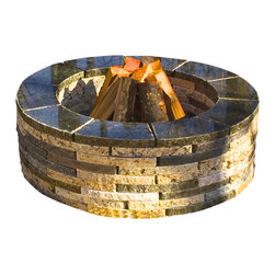 "Realstone Recycling - Granite fire pit, Mixed Blend, 36"" Round - Beautiful granite fire pit contains 32 square feet of granite and assembles in less than 10 minutes. Can be permanently installed with silicone or building adhesive. Contains 90 pieces. Measurement can vary from 37"" to 35"" depending how tight you bring the granite pieces together."