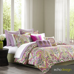 Echo - Echo Vineyard Paisley Cotton 4-piece Comforter Set with Euro Sham Sold Separate - Add a pop of color to your bedroom with the Echo Vineyard comforter set. Made of 100-percent cotton,the comforter features a classic paisley pattern in a fuchsia,lavender and green finish. Euro sham is sold separately.
