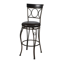 """Linon Home Decor - Linon Home Decor Circles Back Bar Stool 30 X-U-DK-10-LTM13720 - The elegance and unique style of this 30"""" Circles Back Bar Stool will carry throughout your kitchen, dining, or home pub area.  Crafted of metal and highlighted with subtle curves and a distinctive back, this stool is a positively striking addition to your home.  The cushion is piled high for extra comfort and covered in a wipe clean brown vinyl which is resistant to everyday wear and tear making this stool versatile for any gathering area.  Finished in brown with subtle black brush strokes and a brown wood accent. 275 pound weight limit."""