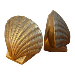 Vintage Brass Sea Shell Bookends - We Sell Sea Shells By the Seashore.... Love this heavy pair of brass seashell bookends with beautiful patina and texture. Solid brass with great detailing.
