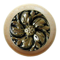 """Inviting Home - Chrysanthemum Natural Wood Knob (unfinished with bright brass) - Chrysanthemum Natural Wood Knob unfinished with hand-cast bright brass insert; 1-1/2"""" diameter Product Specification: Made in the USA. Fine-art foundry hand-pours and hand finished hardware knobs and pulls using Old World methods. Lifetime guaranteed against flaws in craftsmanship. Exceptional clarity of details and depth of relief. All knobs and pulls are hand cast from solid fine pewter or solid bronze. The term antique refers to special methods of treating metal so there is contrast between relief and recessed areas. Knobs and Pulls are lacquered to protect the finish. Alternate finishes are available."""