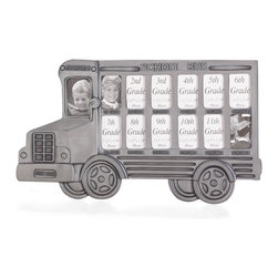 KOOLEKOO - School Bus Photo Frame - This pewter-finish school bus has enough windows to frame all of your child's wallet-sized class photos from grades K-12. A charming way to remember all their school days. Easel back.