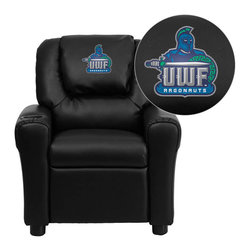 "Flash Furniture - West Florida Argonauts Black Leather Kids Recliner with Cup Holder and Headrest - Get young kids in the college spirit with this embroidered college recliner. Kids will now be able to enjoy the comfort that adults experience with a comfortable recliner that was made just for them! This chair features a strong wood frame with soft foam and then enveloped in durable leather upholstery for your active child. This petite sized recliner is highlighted with a cup holder in the arm to rest their drink during their favorite show or while reading a book. University of West Florida Embroidered Kids Recliner; Embroidered Applique on Oversized Headrest; Overstuffed Padding for Comfort; Easy to Clean Upholstery with Damp Cloth; Cup Holder in armrest; Solid Hardwood Frame; Raised Black Plastic Feet; Intended use for Children Ages 3-9; 90 lb. Weight Limit; CA117 Fire Retardant Foam; Black LeatherSoft Upholstery; LeatherSoft is leather and polyurethane for added Softness and Durability; Safety Feature: Will not recline unless child is in seated position and pulls ottoman 1"" out and then reclines; Safety Feature: Will not recline unless child is in seated position and pulls ottoman 1"" out and then reclines; Overall dimensions: 24""W x 21.5"" - 36.5""D x 27""H"