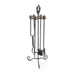 Mrs. Powers Fireplace Tool Set | MacKenzie-Childs - Playful and charming, our Mrs. Powers Fireplace Tool Set is sure to bring some extra warmth and cheer to any hearth. Made to match the rest of the Mrs. Powers collection, with coordinating leaves and birds. All are wrought of forged iron in a rich black-brown finish.