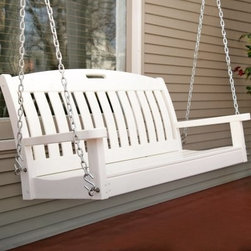 "POLYWOOD® 4-ft. Recycled Plastic Nautical Porch Swing - White - Bring some cheer to your porch patio or yard with this bright white swing. Super-durable and weather-resistant the Poly-Wood 4-ft. White Recycled Plastic Porch Swing is an American tradition. This beautiful porch swing features a seatback comprised of nicely spaced slats to create a relaxed airy impression. An arched top extends a welcoming invitation to sit down and relax. The seat is made of closely laid slats which are angled to fit the contours of your body so you can sit comfortably for hours on end. To complete the swing add the Porch Swing Hanging Kit offered below. You'll find that this porch swing is deserving of our """"Most Durable"""" pick. About PolywoodThe advantages of Polywood are hard to ignore. Polywood absorbs no moisture and will NOT rot warp crack splinter or support bacterial growth. Polywood is also compounded with permanent UV stabilized colors which eliminate the need for painting staining waterproofing stripping and resurfacing. This material is impervious to many substances including salt water gasoline paint stains and mineral spirits. Polywood is extremely easy to clean and maintain. Simple soap and water is all that you need to get rid of dirt and make your furniture look new again. For extreme cleaning needs you can use a 1/3 bleach-and-water solution. Most polywood furnishings are available in 5 classic colors which allow you to choose your favorite or coordinate with the furniture you already have. Polywood products are sure to be furnishings you will be proud to own for a lifetime."