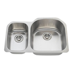 PolarisSinks - Polaris PR1213 Offset Double Bowl Stainless Steel Sink - Stainless Steel is the most popular choice for today's kitchens due to its clean look and durability. The beautiful brushed satin finish helps to hide small scratches that may occur over the lifetime of the sink. Our Stainless Steel sinks are made from high quality 18 gauge steel. Most models are made of one piece construction that ensures the sturdiest kitchen sink you will find. Our sinks are made from 304 grade stainless steel that contains 18% chromium and 8-10% nickel and are guaranteed not to rust. Each sink is fully insulated and has a sound dampening pad. Our stainless steel sinks are backed by a Limited lifetime warranty. Each sink comes with a cardboard cutout template and mounting hardware.