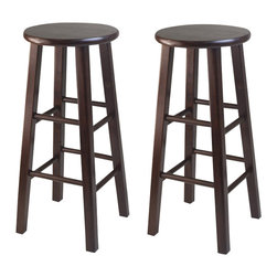 """Winsome - Winsome Square Leg 29"""" Bar Stool in Antique Walnut Finish (Set of 2) - Winsome - Bar Stools - 94260"""
