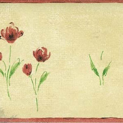 York Wallcoverings - Brown Background Red Petal Rose Art Wallpaper Border - Wallpaper borders bring color, character and detail to a room with exciting new look for your walls - easier and quicker then ever.