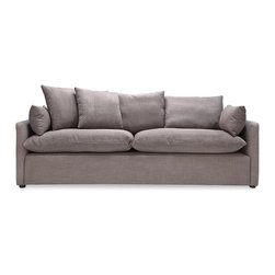 Cameron Sofa in Grey Tweed - Our take on casual, relaxed California style, the Cameron is perfect for cat naps or movie nights at home. Elegant, crisp tapered arm rests and two included cushions complete the look.