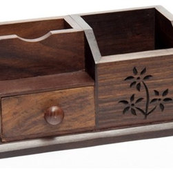 "Sitara Collections - Handmade Mango Wood Mini Desk - Our Beautifully Carved Mini Desk Gives Everyday Essentials the Red Carpet Treatment. an Ideal tool to organize Bills, Pens, and Other Clutter-Makers, the Desk's Heirloom-Quality Craftsmanship and Delicate Floral Detail Transform an ordinary Comcept into something Extraordinary. Dimensioms: 7.8"" Lomg X 3.875"" Deep X 3.5"" High Materials: Mango Wood Features 1 Pull-Out Drawer."