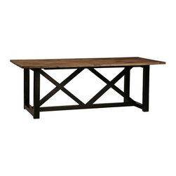 Magellan Dining Table - The Magellan dining table is a farmhouse classic with a modern twist. The combination of the distressed wood tabletop and the sleek, painted base makes for a versatile dining table that will compliment any design style.