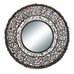 Benzara - Rattan Mirror Handmade To Feel Smart - Have a look over round shaped heavily discounted easy to fix 61542 Rattan Mirror specially discounted for decor enthusiasts. It can be used at different places of home with different purposes.