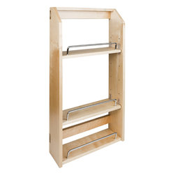 """Hardware Resources - Adjustable Spice Rack for 18"""" Wall Cabinet. - Adjustable Spice Rack for 18"""" Wall Cabinet.  12 1/2"""" x 4"""" x 24"""". Inside shelves are 11 1/2"""" wide.  Species:  Hard Maple."""