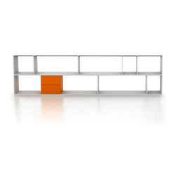 "Bensen - Format Storage - 119"" x 33"" - Format is assembled from the bottom up, with each successive layer of shelves and dividers supporting the next. Each shelf is supported by a solid aluminum bar and features a series of holes where dividers can be secured by inserting a single steel pin. Dividers can be repositioned easily during assembly by removing the pin and replacing it in a new location. The thin panels give visual lightness to the design, while the thick bottom panel acts as a solid base with 8 concealed levellers to ensure stability."