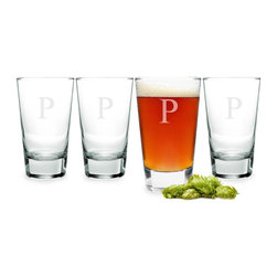 None - Personalized Glass Pint Tumblers (Set of 4) - The classic engraved pint glasses are nice for the kitchen or the home bar. The glasses feature custom engraving of a single block initial letters A to Z at no cost. A set of four,they have weighted bottoms,measure 5.5 x 3.25 and hold 15.5 ounces.