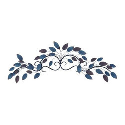 UMA - Cascade in Blue Leaf Art - Delicate leaves in bold azure blue and simple gray tumble and cascade in perfect symmetry