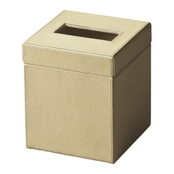Butler Specialty - Butler Lido Cream Leather Tissue Box - Meticulously upholstered in richly textured, cream-toned leather , this Tissue Box is both functional and stylish.
