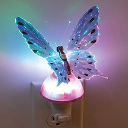Fiber Optic Color Changing Butterfly Light - Elegant detailed butterfly replica accents a compact night light. Pink fibers. Night light with a light switch. You can turn it on and you can use this as a night light.