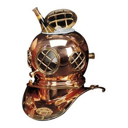 """12"""" Polished Brass & Copper Mark V Dive Helmet Ice Bucket - The helmet ice bucket is a stunning centerpiece in any room it is placed in. It measures 12""""H x 5.5""""Dia. Not only is it an incredible display item but it also works as a functional ice bucket. It is made of brass and copper and is lacquer coated to prevent fingerprinting and tarnishing. It will add a definite nautical touch to whatever room it is placed in and is a must have for those who appreciate high quality nautical decor. It makes a great gift, impressive decoration  will be admired by all those who love the sea."""