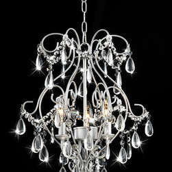 Otis Designs - Elisa 3-light Spray Paint Silver Chandelier - Enhance the elegance of your dining room with this three-light silver chandelier from Elisa. Constructed from silver-finished iron accented by dazzling dangling crystals,this exquisite chandelier illuminates your room in softly diffused light.