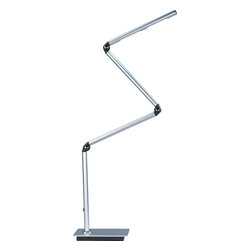 """ET2 Lighting - ET2 Lighting E41037-SA Satin Aluminum Eco-Task 1 Light 45 Inch LED Swing Arm Tab - Flexible and bendable, the Eco-Task is a state of the art segmented LED table lamp with a 45"""" height that will provide ample task oriented 9 watt eco friendly light anywhere it is needed."""