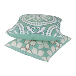 vintagemaya - MONTBELLO AND REMILLY PILLOW COVER SET - Decorative pillows inspired by the Versailles Palace in France. France is the epitome of beauty, luxury, and romance, and the massive Versailles has all these qualities about 100 times magnified. Our Montbello and Remilly toss pillows for couch capture the essence of these emotions in their vivid green and white colors and their intricate embroidered patterns. Old fashioned hand needlework and sophisticated machine