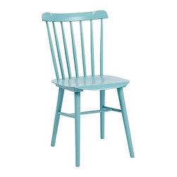 Tucker Chair, Surf - This downsized version has the curved back of a traditional Windsor, but its compact frame gives it a modern edge. Go fun with this subtle turquoise shade.