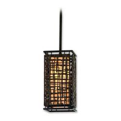 """Corbett Lighting 105-41 Shoji Bonsai Bronze Mini Pendant - Corbett Lighting 105-41 Shoji Bonsai Bronze Mini Pendant-Collection: Shoji-Number of Bulbs: 1-Bulb Type: 60 Watt A15-Weight: 1-Diameter: 19""""-Extension from Wall: 5"""""""