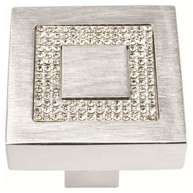 Atlas Homewares - Atlas Luxury 1 1/2-Inch Square Inset Crystal Door Knob Matte Chrome - Atlas Luxury 1 1/2-Inch Square Inset Crystal Door Knob Matte Chrome