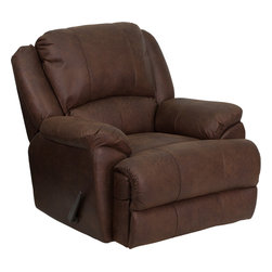 Flash Furniture - Overstuffed Bomber Jacket Microfiber Lever Rocker Recliner - This motion recliner will provide you comfort with the added bonus of the rocking feature. The rocker recliner can not only be used in the living room/ but makes for a great nursery chair. The gentle back and forth rocking is soothing to both babies and adults. This recliner features thick cushion padding to relax while watching a movie/ reading a good book or doing nothing! The durable microfiber upholstery is not only soft and adds a clean appearance/ but is easy to clean.