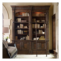 Hooker Furniture - Hooker Furniture Adagio Double Bookcase with Ladder and Rail - Hooker Furniture - Bookcases - 509110225 - Grand scale classic design and soft flowing shapes are married with a rich dark finish to give birth to the stunning Adagio collection.