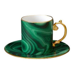 L'Objet - L'Objet Perlee Malachite Espresso Cup and Saucer - Inspired by the timeless elegance and enduring modernity of the pearl, Perlee is an expression of classic dinnerware. The collection is offered in solid white Limoges porcelain with meticulously hand-painted 24K gold or Platinum. Limoges Porcelain, Hand Gilded24k Gold Decorated. Made in Portugal. Dishwasher Safe on Delicate Setting. Not Microwave Safe. Dimensions: 4oz. L'Objet is best known for using ancient design techniques to create timeless, yet decidedly modern serve-ware, dishes, home decor and gifts.