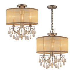 "Crystorama - Hampton Chandelier - Small - Chandelier Accented with Etruscan Smooth Oyster crystals and Gold Silk Shimmer Shade. Can be installed as either a ceiling mount or pendant. The photo shows both installation options. Takes 3 - 60 w/c bulbs. Chain: 96"" Wire: 120"""