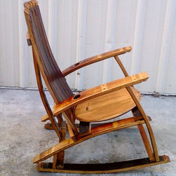 Cellars Racking & Accessories - This rocking chair is our version of how a perfectly designed wine barrel Adirondak style rocking chair should function and sure to be an heirloom that is passed from generation to generation. Hand crafted in Lodi, CA, USA. Our Wine Barrel Rocking Chair is perfect for sitting outside as you watch the world, feel the wind, and taste the wine.