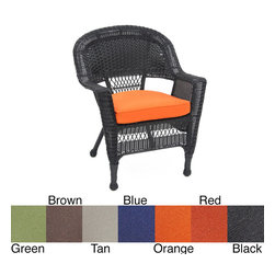 Jeco - Black Wicker Chair/ Cushion (Set of 4) - With durable,all-weather resin wicker over a powder-coated steel frame,this chair is built to withstand anything life throws your way. Resin wicker is flexible and fade-resistant,which means it stays like new season after season.