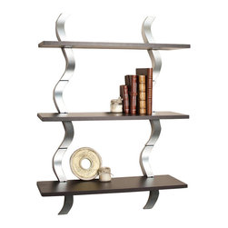 Danya B - Waves 3 Level Shelving System - Shelves can be presented together as a unit, or separately as three separate units. No visible hanging hardware. All hardware included. 27.5 in. L x 9.5 in. W x 40 in. H (15.1 lbs)