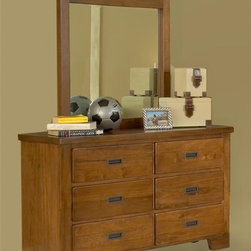 American Woodcrafters - Heartland Double Dresser w Mirror - Tenon and mortis construction. Made from select hardwoods and veneers. Spice finish. No assembly requiredMirror:. Sand break edging and radius corners. Tenon and mortis construction. Beveled glass. 2 in. thickness. 36 in. W x 39 in. H (34.4 lbs.)Dresser:. Six drawers. English dovetailing both front and back with center guided wood drawer glides. Positive drawer stops for added safety. Veneered drawer bottoms provide snag free storage. Dust proofing on bottom drawers. Felt lined top drawers. Tip resistant furniture bracket. Recessed gun metal hardware. 14.5 in. deep drawers. Overall: 52 in. W x 17.5 in. D x 32 in. H (79 lbs.)Heartland, ruggedly constructed furniture from American Woodcrafters, will withstand sleepovers and adventures with piles of friends.