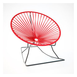 Innit Rocker, Red Weave On Black Frame - Metal and vinyl come together seamlessly to form this comfy rocking chair made for indoor or outdoor use. The hoop shape creates a supportive place to rest, and the metal base keeps you rocking for added relaxation. It's available in multiple colors to match your every decor need or whim.
