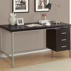 Monarch - Cappuccino Hollow-Core/Silver Metal 60in.L Office Desk - Create an industrial yet simple style to your home with this 3 drawer cappuccino hollow-core desk. A beautiful silver metal frame supports this thick topped work station with generous drawer storage.