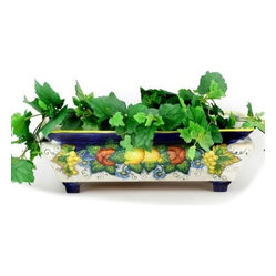 Artistica - Hand Made in Italy - MAJOLICA FRUTTA: Rectangular Planter - MAJOLICA FRUTTA Collection.