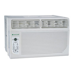 """Hanover - Hanover HANAW08A Energy Star 8,000 BTU 115-Volt Window-Mounted Air Conditioner - The Hanover HANAW08A 8,000 BTU 115-Volt Window-Mounted Air Conditioner is perfect for cooling rooms up to 350 square feet. It has electronic controls with LED display and a temperature sensing, full-function """"Follow Me"""" LCD remote control allowing you to conveniently see, set and maintain the room temperature from across the room. Additional features include energy-saver mode, sleep mode, auto-restart and a full 2-year parts and labor warranty."""