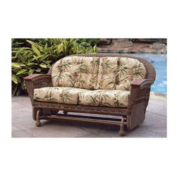 Spice Island Wicker - Outdoor Wicker Glider Sofa with Cushion (Antique Floral) - Fabric: Antique FloralGliders bring the simple joys of motion to life and this all-weather wicker design will let you enjoy the outdoors in any season.  Aluminum frame supports the charm of a tight, classic weave accented by solid teak armrests.  All packaged in a strikingly rich finish.  Here is a outdoor sofa that is fashioned from wicker that will add a lot of beauty and style to your outdoor living area in an instant.  Not only is the sofa beautiful it's comfortable, too. * All Weather Wicker - Woven Vinyl over Aluminum frame. Stone Finish. Includes Cushion. Arms are solid teak. 39.5 in. W x 25 in. D x 18 in. H