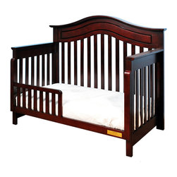 AFG Baby Furniture - Lia Convertible Crib Cherry - The Lia Crib from our Jordana Collection boasts a bold, assertive style that brings pronounced elegance into any nursery. Designed with a tasteful twist on the classic missionary style, the Lia Crib is timeless and sure to become the centerpiece of those joyous early years. Uncompromising in quality and strength, the Lia is built to last with a solid hardwood construction and nontoxic finish. It features an adjustable 3-level mattress support can be converted into a toddler bed or full-size bed. Guardrail and conversion rails sold separately.