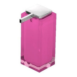 Gedy - Square Pink Countertop Soap Dispenser - Modern, decorative square semi-transparent hand soap dispenser with polished chromed plastic hand pump.