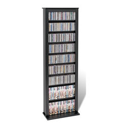 Prepac - Slim Barrister Tower in Black Finish - Ultra-slim and modern, this black finished storage barrister holds a large amount of CD and DVD cases on its adjustable shelves. Place several units side by side together to create an attractive library wall for your many different kinds of multimedia. Adjustable shelves holds variety of media sizes. Capacity: 391 CDs, 189 DVDs, 320 Blu-Ray discs and 112 VHS cassettes. Warranty: Five years. Made from CARB-compliant, laminated composite woods with sturdy MDF backer. Made in North America. Minimal assembly required. 19.25 in. W x 9.5 in. D x 63.75 in. HGet storage that will grow as your collection does with the Slim Barrister Tower. With a narrow base specifically designed to fit side by side with other units, you can easily create a library wall to expand and improve your storage. So start filling up a tower, and see where it takes you.