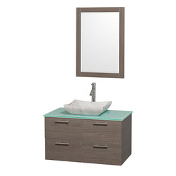 Wyndham - Amare 36in. Wall Vanity Set in Grey Oak w/ Green Glass Top & Carrera Marble Si - Modern clean lines and a truly elegant design aesthetic meet affordability in the Wyndham Collection Amare Vanity. Available with green glass or pure white man-made stone counters, and featuring soft close door hinges and drawer glides, you'll never hear a noisy door again! Meticulously finished with brushed Chrome hardware, the attention to detail on this elegant contemporary vanity is unrivalled.